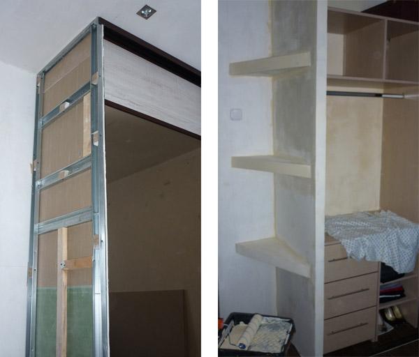 Встроенный шкаф-купе из гипсокартона своими руками 87